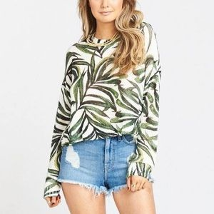 Show Me Your Mumu Cropped Palm Varsity Sweater